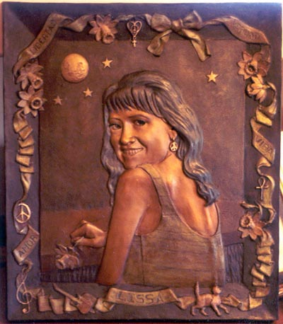 Bronze bas-relief portrait of Lissa Romero