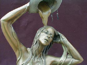 Refreshing relaxation is evident as water spills from her hat and over her body.