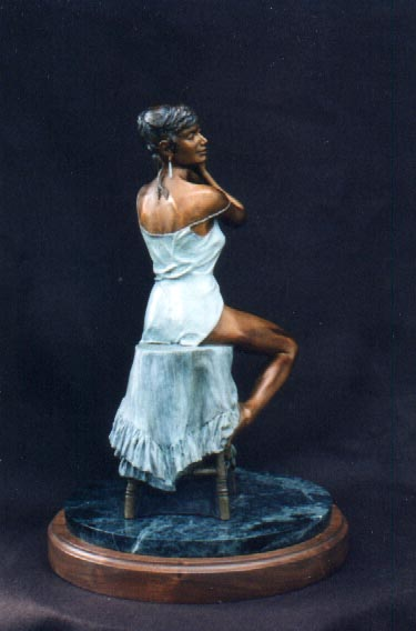 "Limited edition bronze 18""h x 14"" x 14""   Very realistic and detailed view into the private world of a woman alone at her dressing table as she selects a pair of earrings."