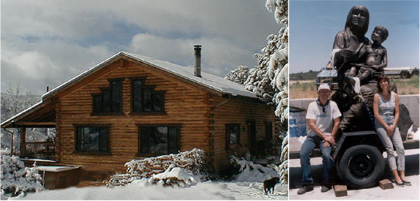 The artist's log cabin in snow and the artist with foundry-owner and twice life-size bronze